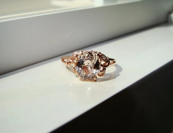 Morganite Diamond Ring Peach Pink Gemstone Engagement Ring