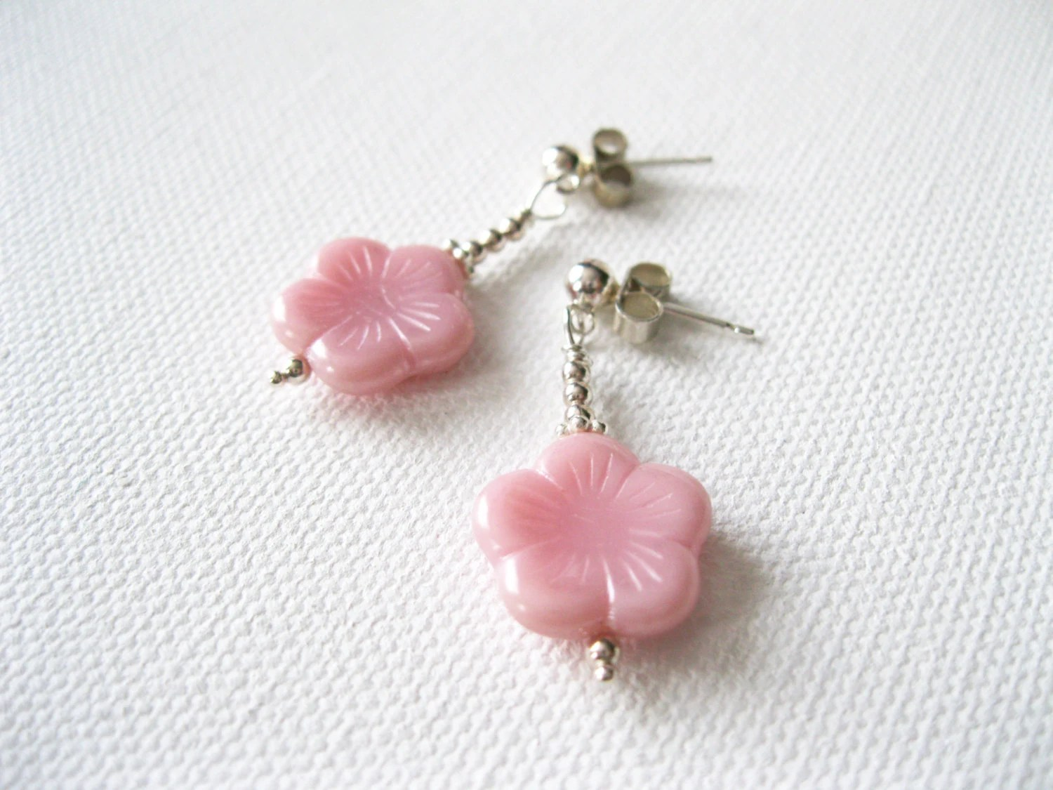 Pink Blossom & Sterling Silver Earring - UK Seller - blossomingsilver