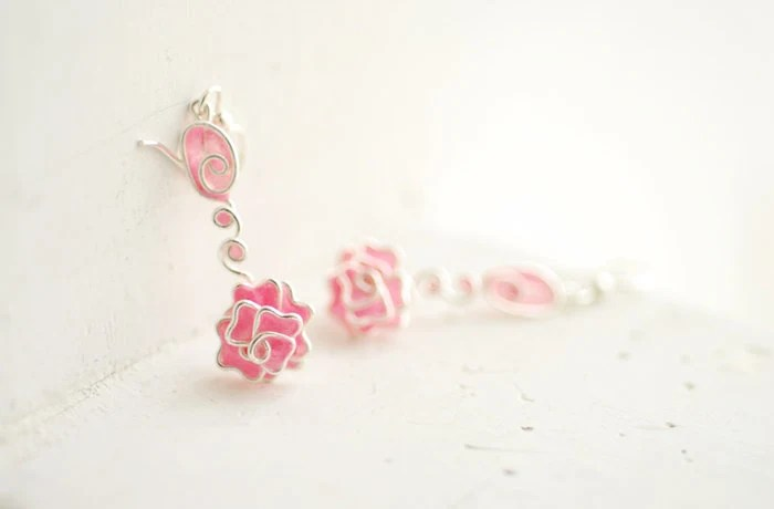 Rose Flower Earrings, Pale Pink, Delicate Artisan Jewelry, Paper Wearable Art... - TaylorsEclectic