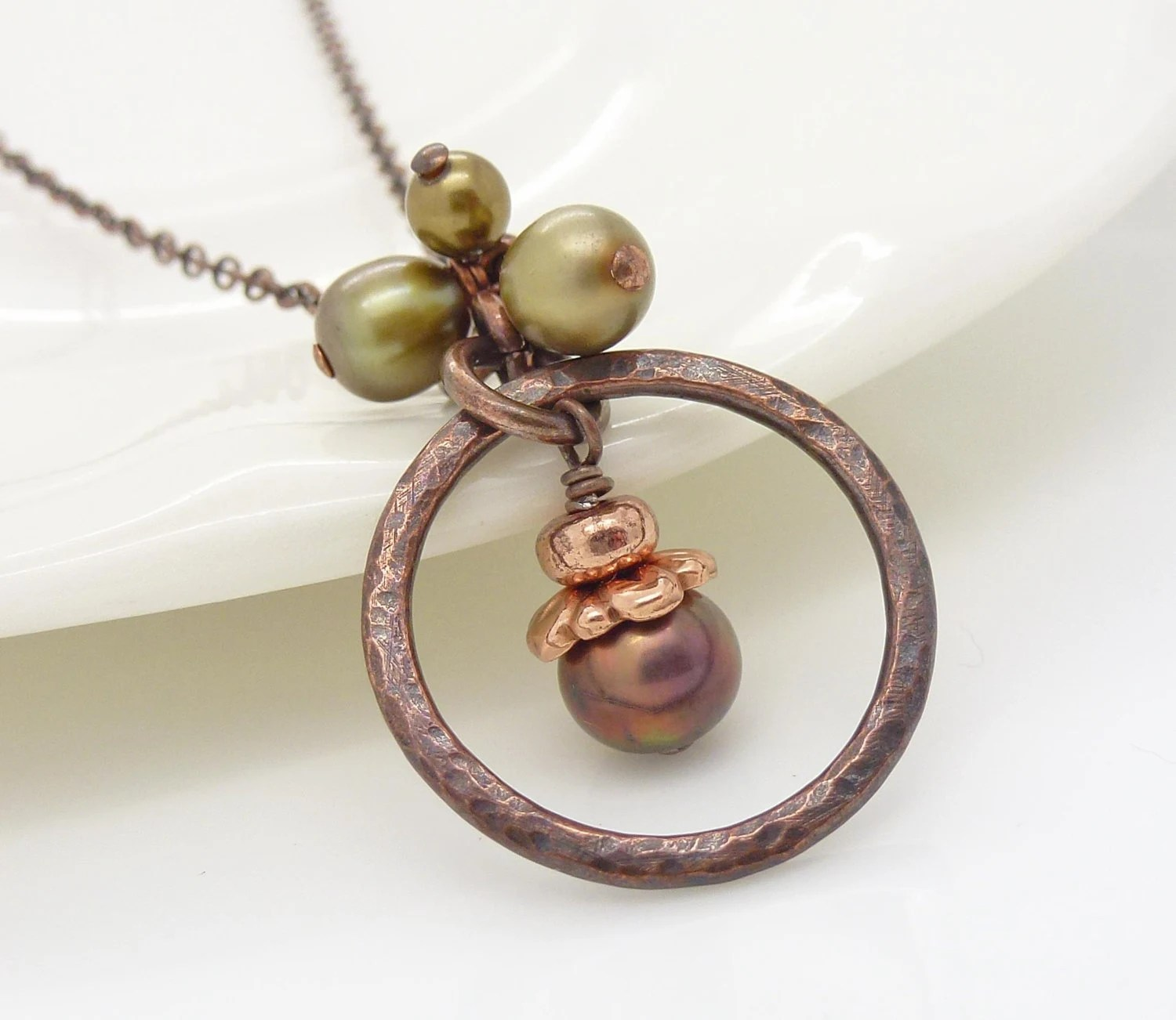 Hammered copper necklace, green brown pearl necklace, hammered copper jewelry - CreativityJewellery
