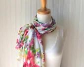 Summer Blooms Sheer Scarf - Magenta Pink, Lilac Purple, Lime Green Chiffon Scarf - Spring and Summer Fashion - JANNYSGIRL
