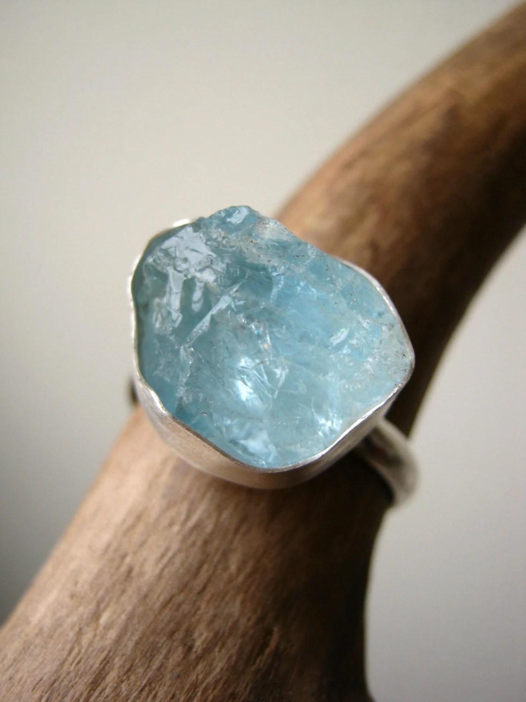Big Rough Aquamarine Ring Sterling Silver Ready To Ship