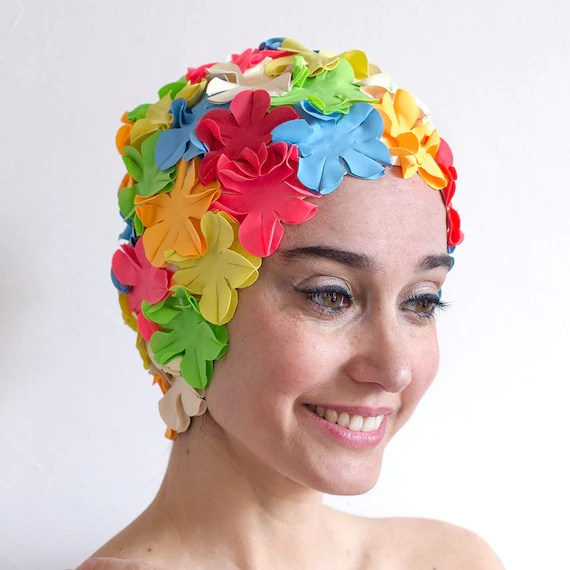 Flower swimming caps -  the classic - one size fits all
