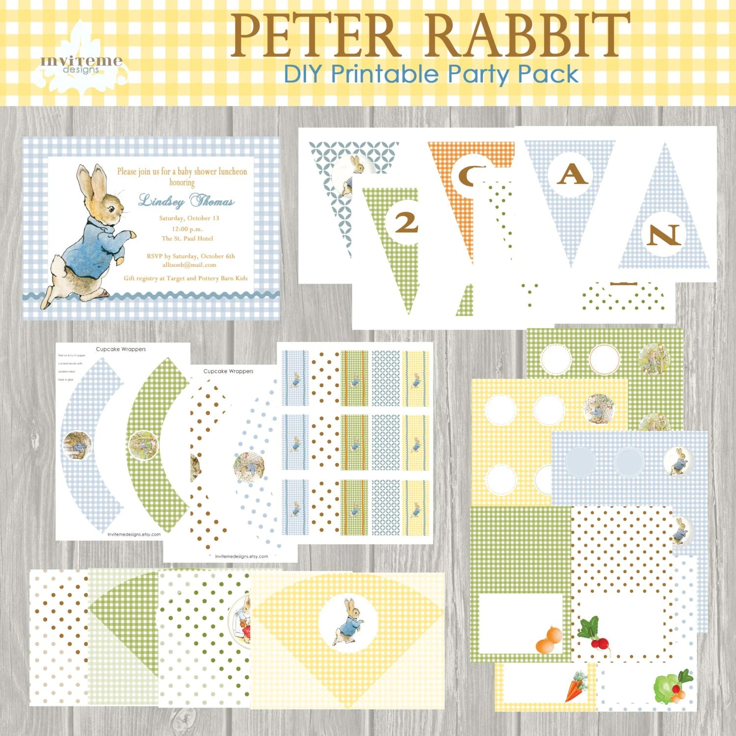Instant Download Peter Rabbit Easter Printable By Invitemedesigns