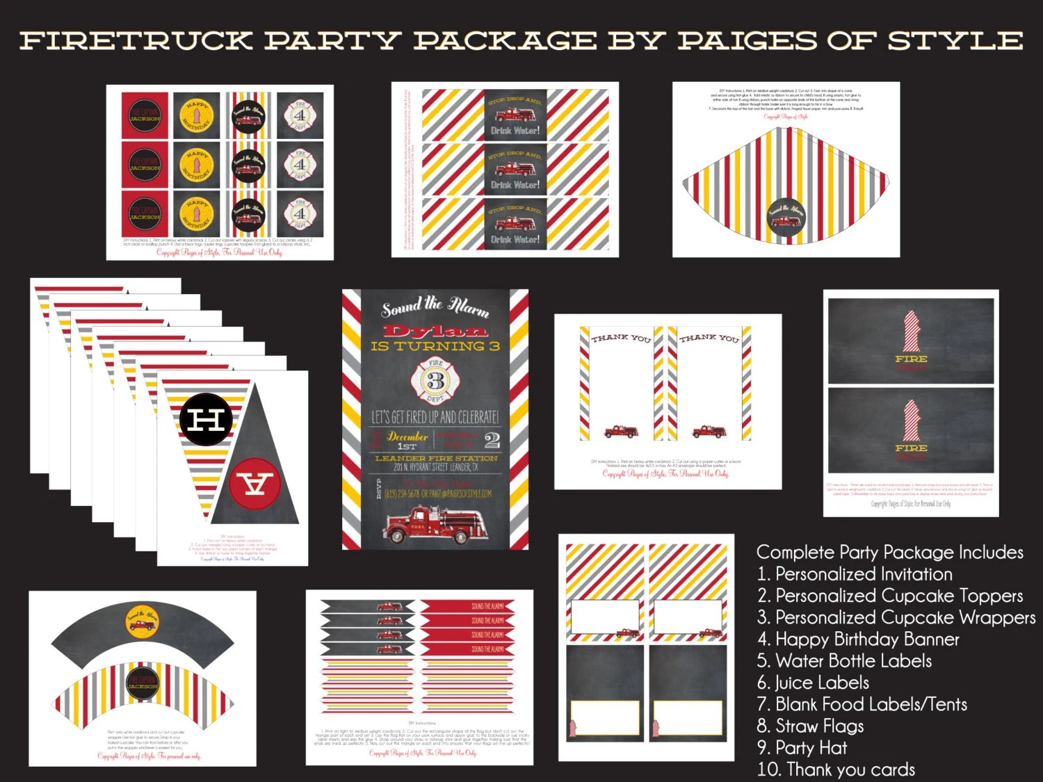 Firetruck Birthday Party Package Printable
