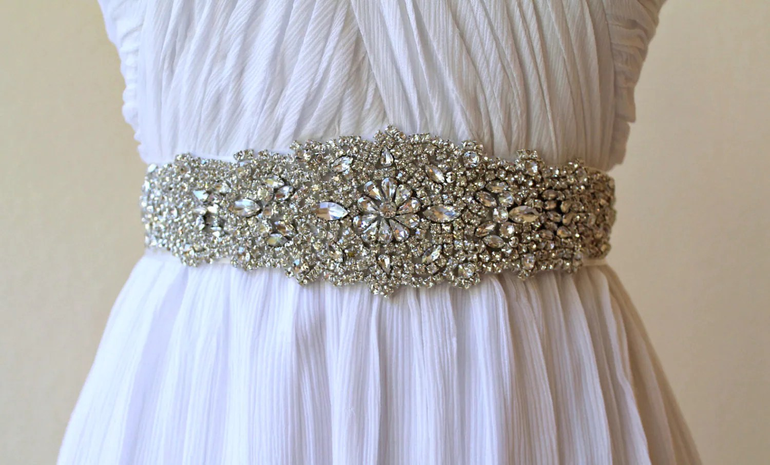 Bridal Beaded Luxury Crystal Applique Ribbon Sash. Wedding