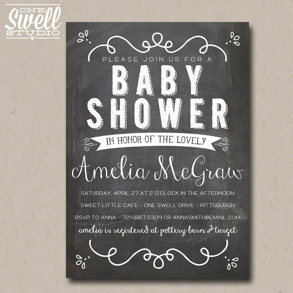 Vintage Hand-Lettering Inspired Chalkboard or Kraft DIY Printable Baby or Bridal Shower Invitation 5x7 format - custom text