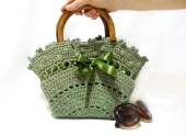 Crochet bag- Handmade tote bag- Free Shipping- Purse- Green handbag- 2013 bags trends, Medium handbag- wooden handle, Crochet tote bag - aynikki