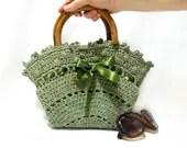 Crochet bag- Handmade tote bag- Free Shipping- Purse- Green handbag- 2013 bags trends, Medium handbag- wooden handle, Crochet tote bag - aynikki