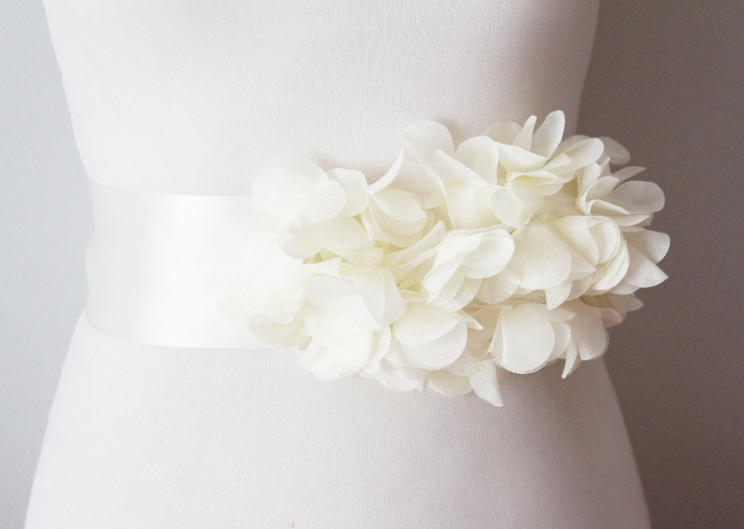 Bridal Ivory Chiffon Flower Sash Posh Ribbon Belt Vintage