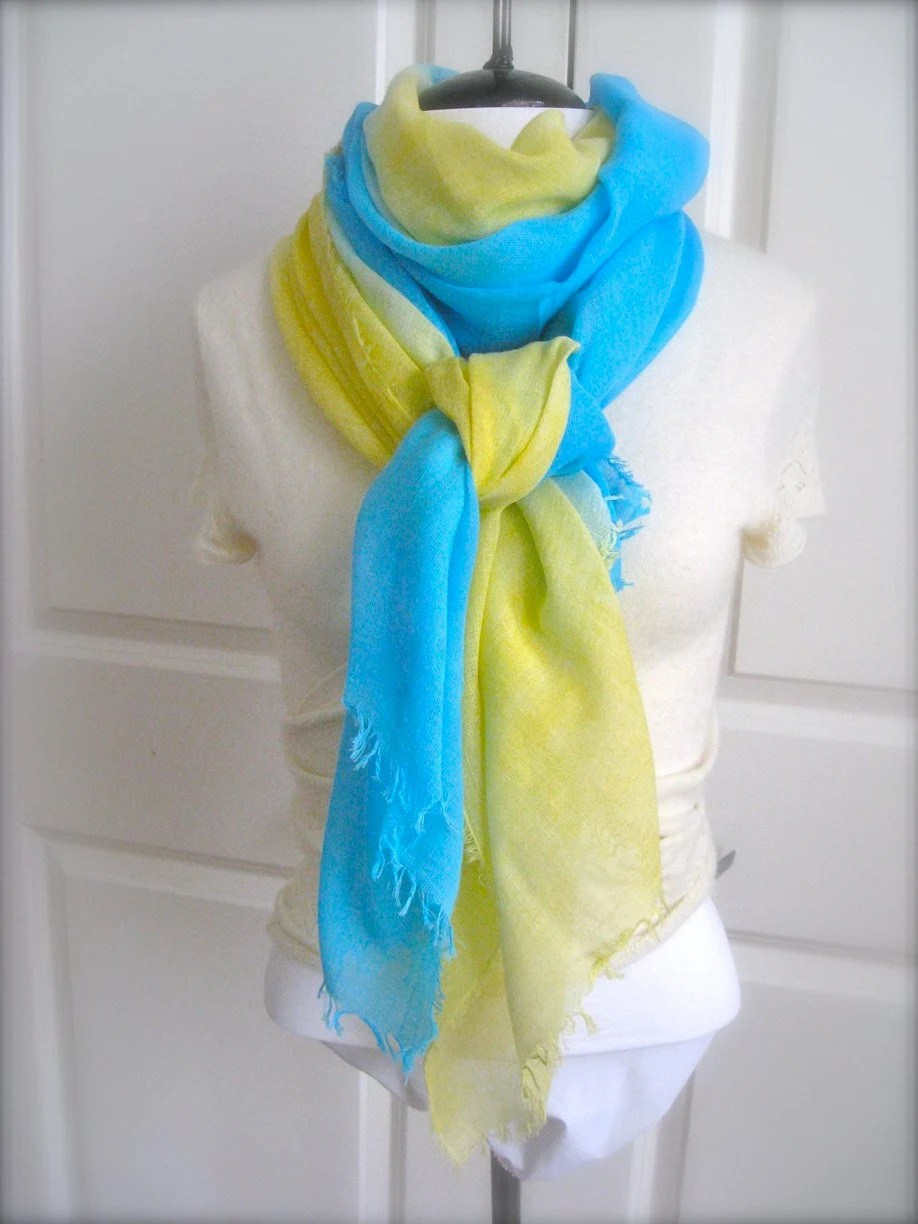 Ombre Gauze Scarf, Cotton Scarf, Aqua Blue and Yellow Cotton Scarf, Bikini Cover - FeltingStories