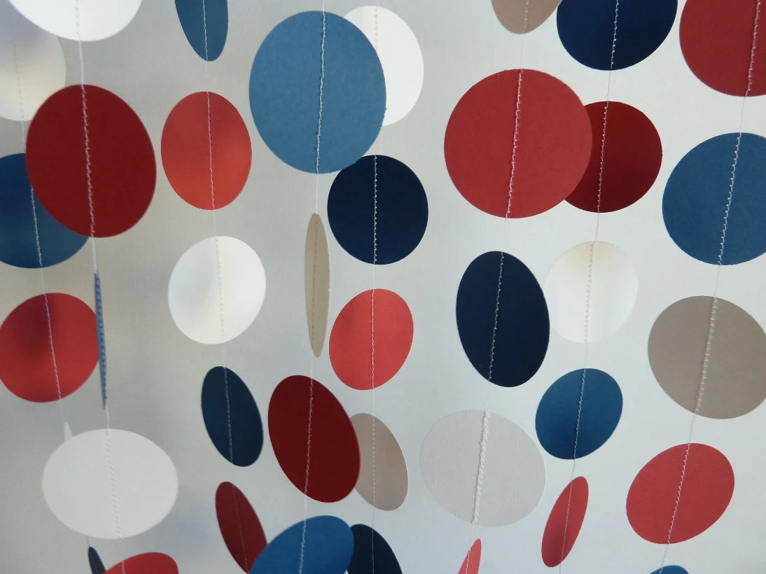 Red, White, Blue Garland, Paper Circle Garland, 4th of July Decoration - FabulouslyHomemade