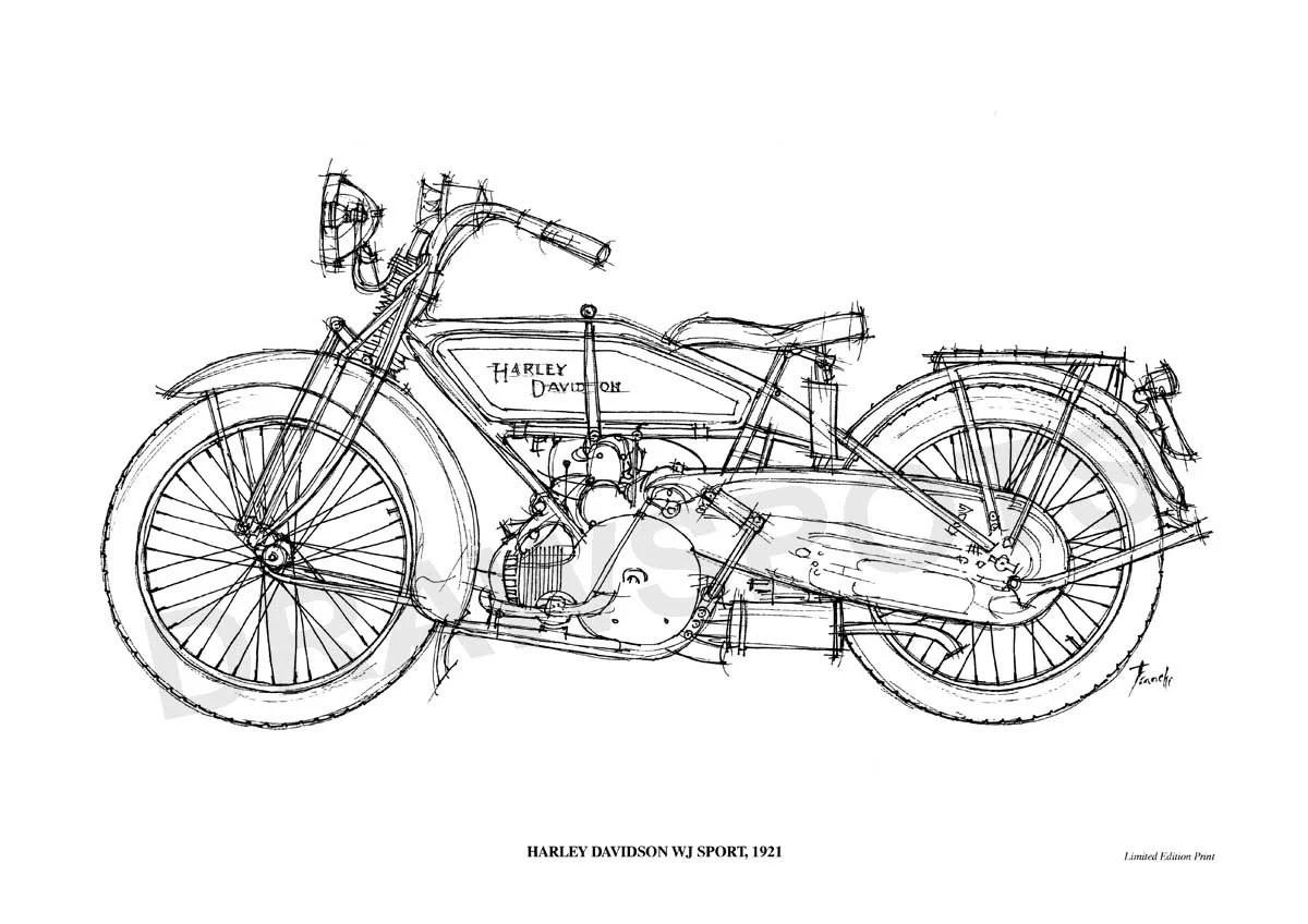 Harley Davidson Wj Sport Poster De Mi Dibujo Original