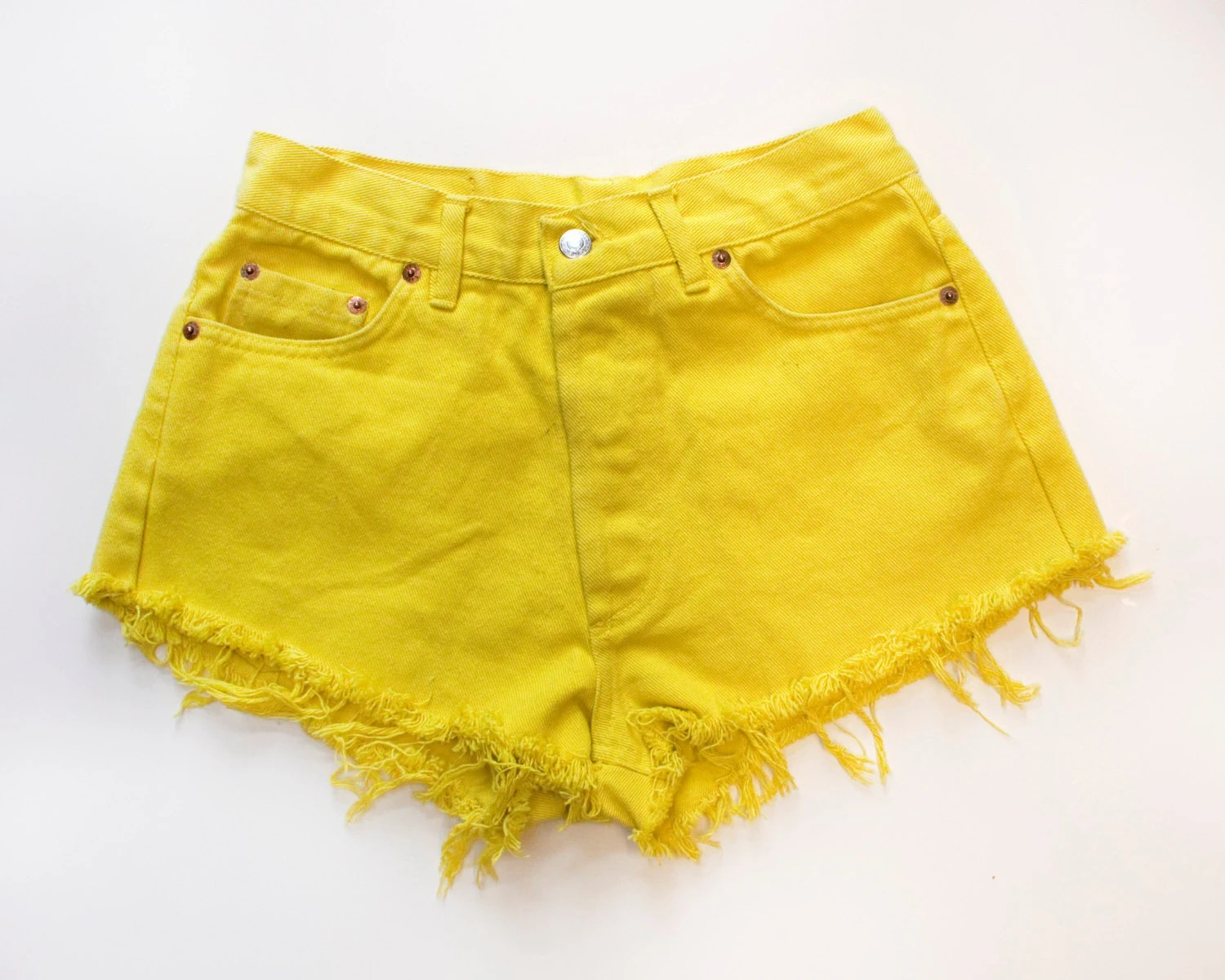 Vintage Levis 501 Unique Original Bright Yellow Cut Offs - xbangbangx