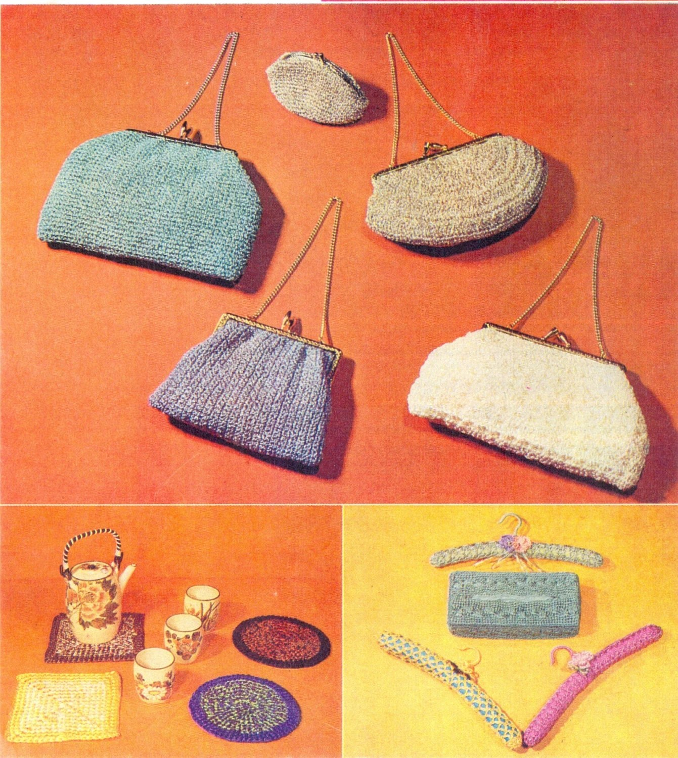 Knitting Pattern For Book Bag : PDF Vintage Knitting and Crochet Pattern Book   Bags, Tea Cosy, Place Setting...
