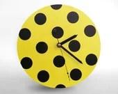 Hey Fishy -  Yellow vs Black Wall clock (2013 Polka Dots Designer Clock) - HeyFishy