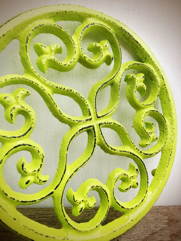 BOLD TRIVET vibrant chartreuse lime green   // ornate round floral design // rustic shabby cottage chic // hand painted // kitchen decor - BOLDHOUSE