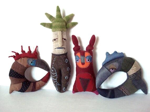 Soft Sculpture Crochet RAI Rainmaker Wood Spirit Doll Storytelling Prop