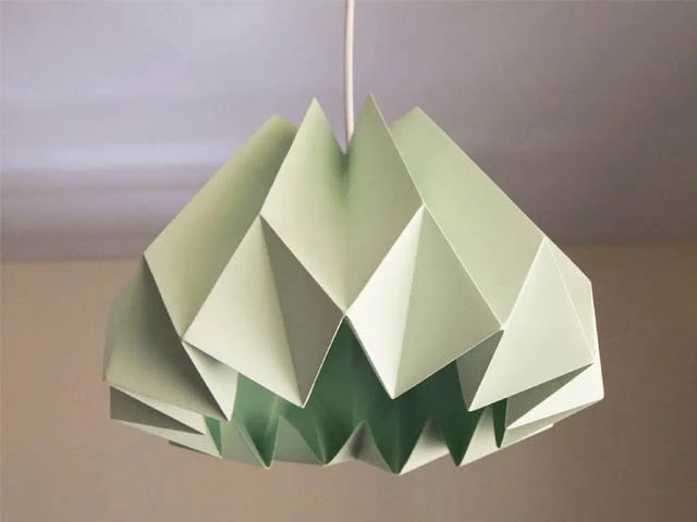Pumpkin/Origami Paper Lamp Shade-Mint green - twReborn