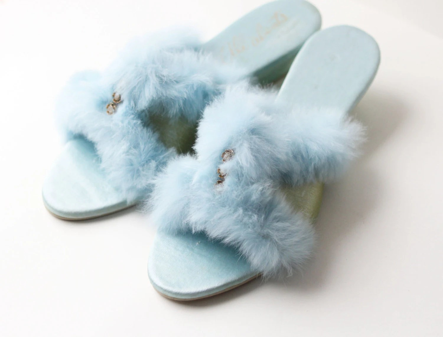 VINTAGE SLIPPERS - bedroom shoes, fuzzy powder blue - 1960s - SIZE 6.5