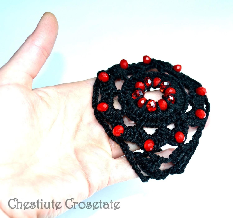 Gothic black cotton red crystals crochet bracelet - CrochetNewbie