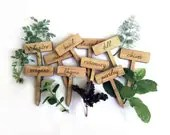 Herb Garden Plant Markers / Set of 10 Wood Engraved Labels - MileNine