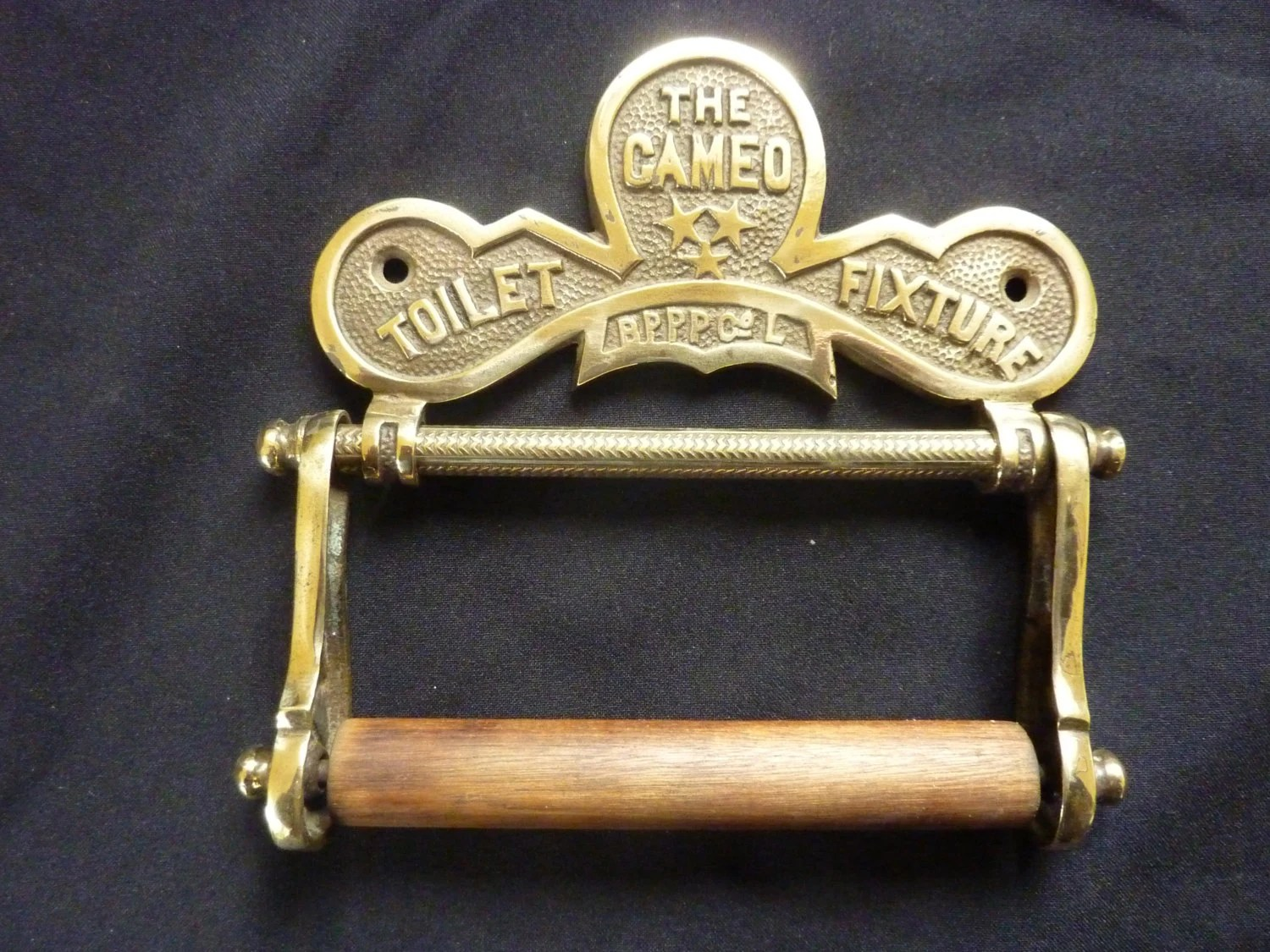Solid Brass and Wood Antique Toilet Roll Holder 'The Cameo' Victorian bathroom