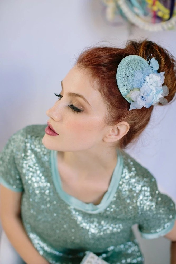 Bridesmaid Mini Hat, Bridesmaid Fascinator, Flower Bridal Hair Piece, Wedding Headpiece, Bridal Fascinator, Ships in 1 Month