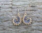 iolite and 14k gold filled swirl earrings - iolite earrings - gold earrings - wire wrapped earrings - handmade - artisan - handmade jewelry - Leoben