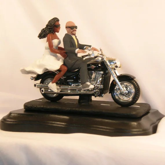 Items Similar To Motorcycle Wedding Cake Topper African