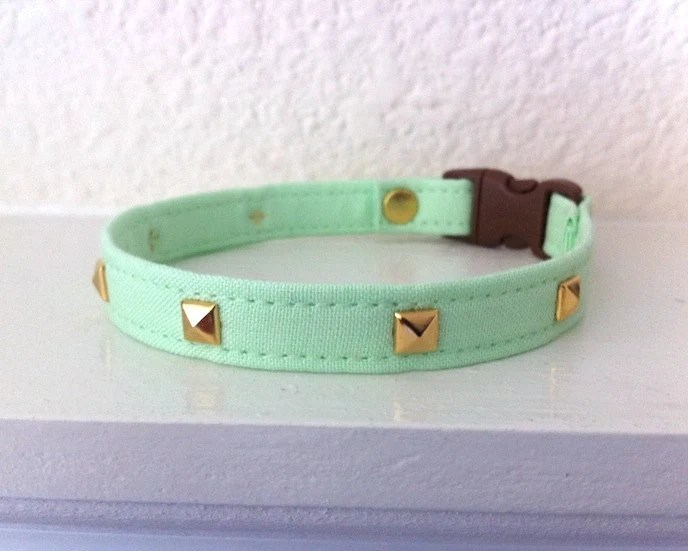 Mint Green Studs Cat collar