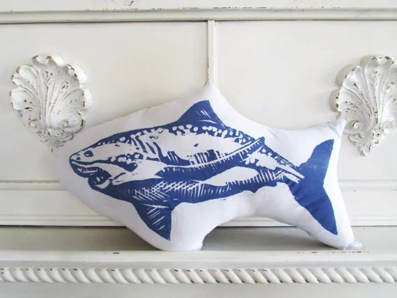 Plush Shark Pillow. Hand Block Printed. Choose ANY Color. Made to Order.