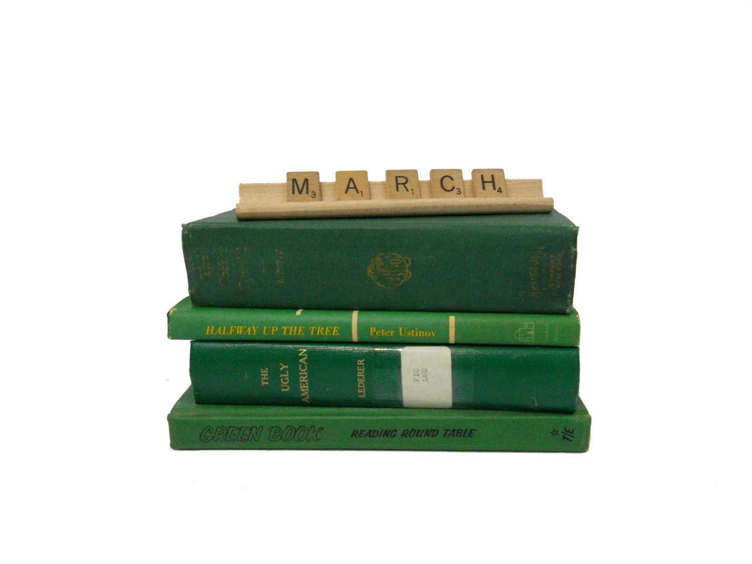 ST. PATRICK'S DAY Vintage Books / Kelly Green March Spring Book Decor Collection - FoxburrowVintage