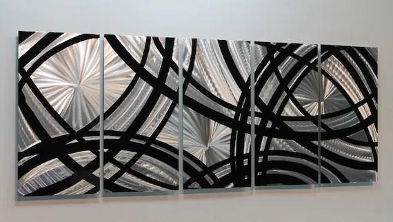 Silver & Black Modern Metal Wall Art Contemporary Wall