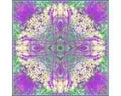 Purple Mandala Print, New Age Wall Decor, Meditation Print, Garden Kaleidoscope - JudyStalus
