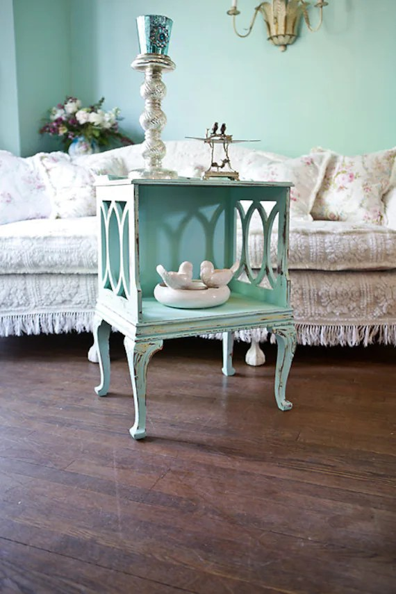 Vintage Shabby Chic Nightstand End Table Distressed Aqua Blue