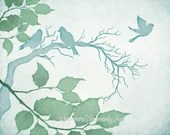 Blue Green Watercolor Tree Branches 8 x 10 Bird Print, Woodland Wildlife, Nature Wall Decor (200)