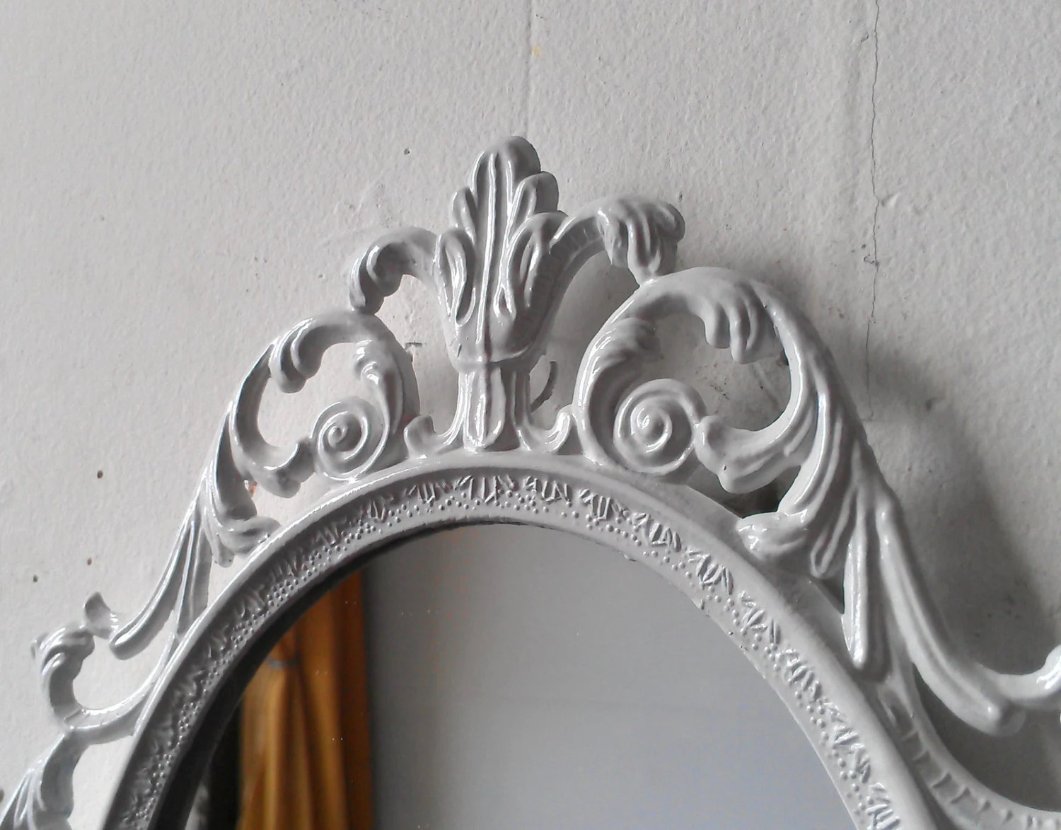 White Princess Mirror Ornate Vintage Oval Framed Mirror 10