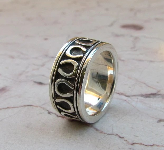 Horseshoe Wedding Band Equestrian Sterling Silver By