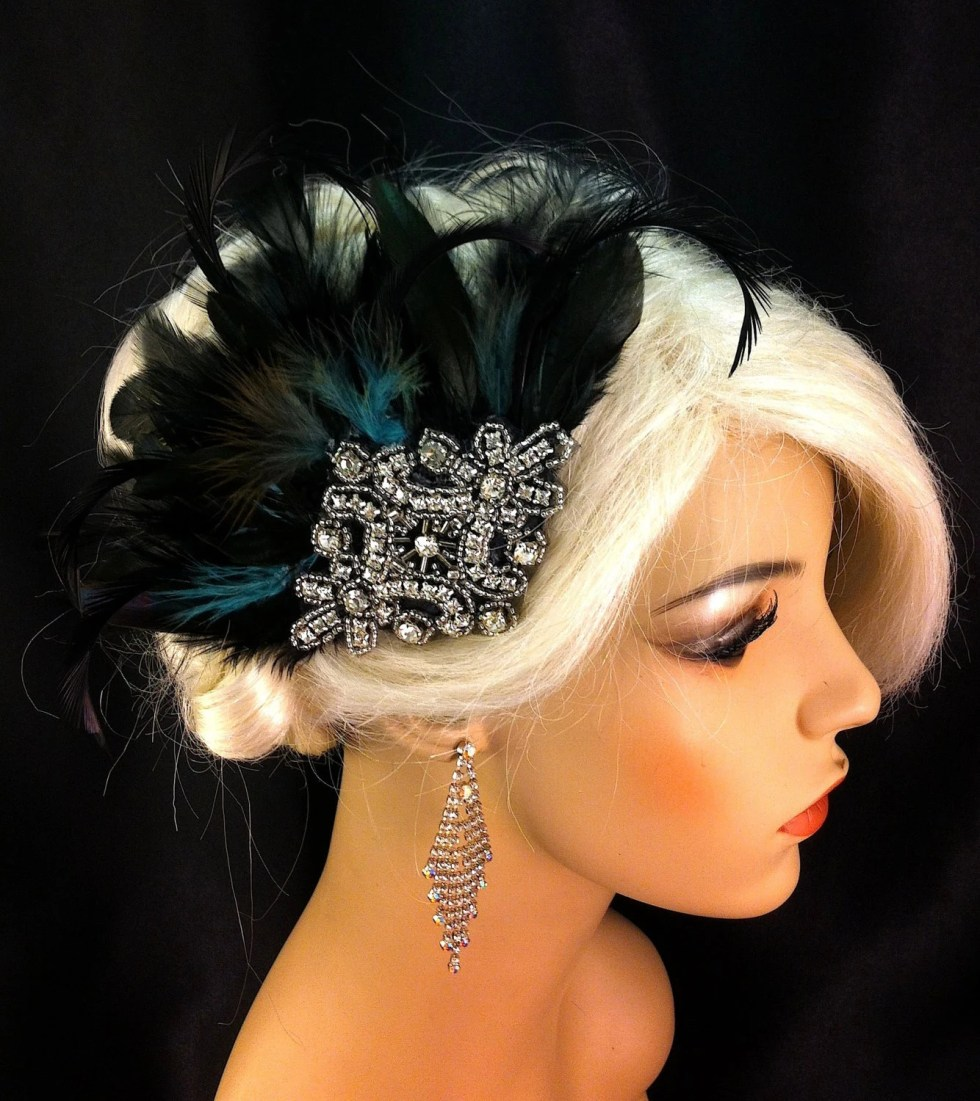 Bridal Hair Clip, Black Feather Fascinator, 1920s flapper, Art Deco Headpiece, Bridesmaid, Hair Accessories
