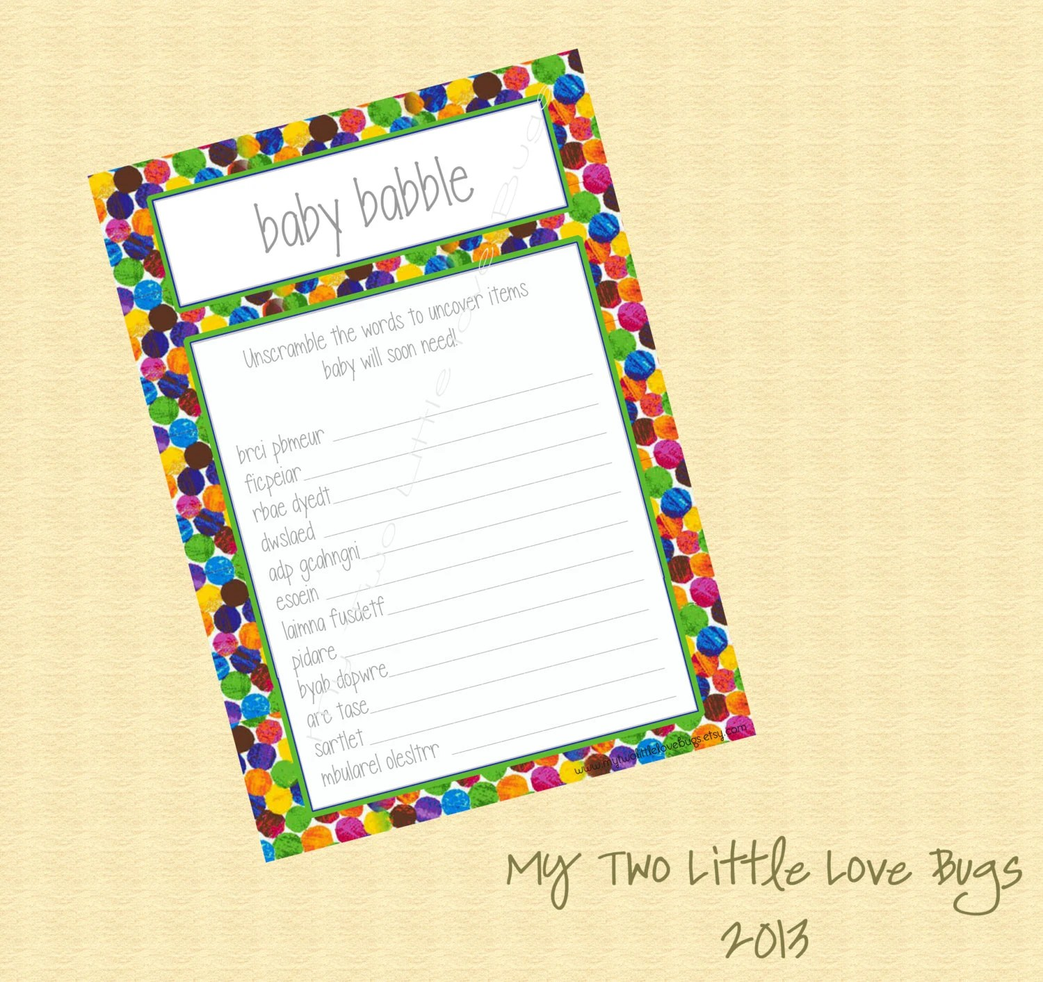 Instant Download Baby Babble Word Scramble By Mytwolittlelovebugs