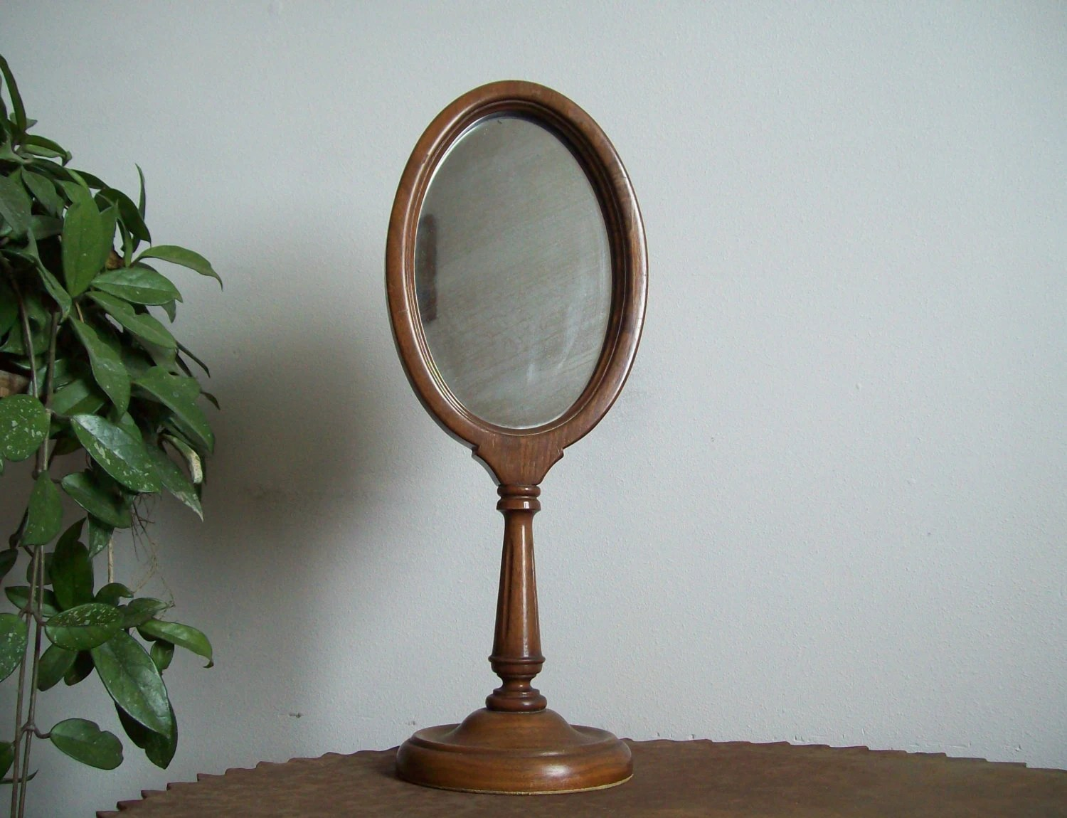 Antique Pedestal Dresser Mirror Oval Great Mirror