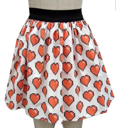 8 Bit Heart Full Skirt