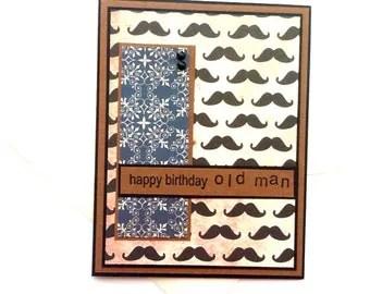 Birthday Card w/ Envelope- Old Mustache
