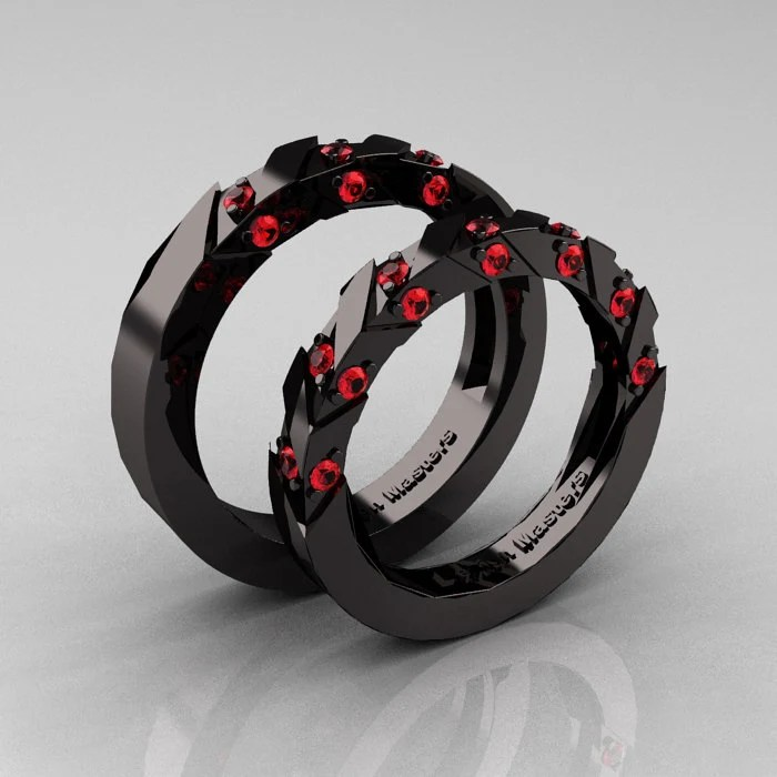 Modern Italian 14K Black Gold Rubies Wedding Band Set
