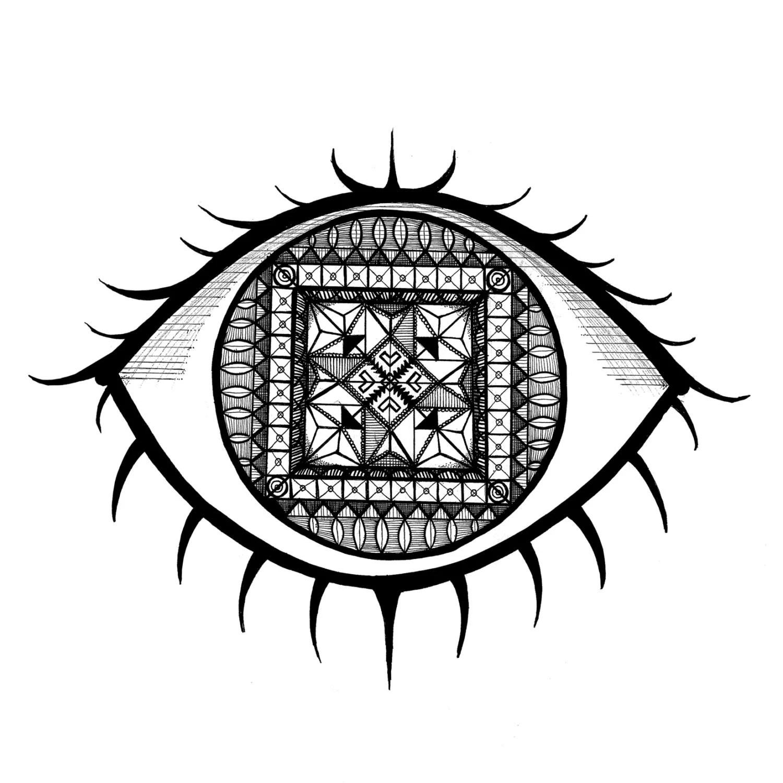 Eye Pattern Symbol Black And White Digital Art Print By