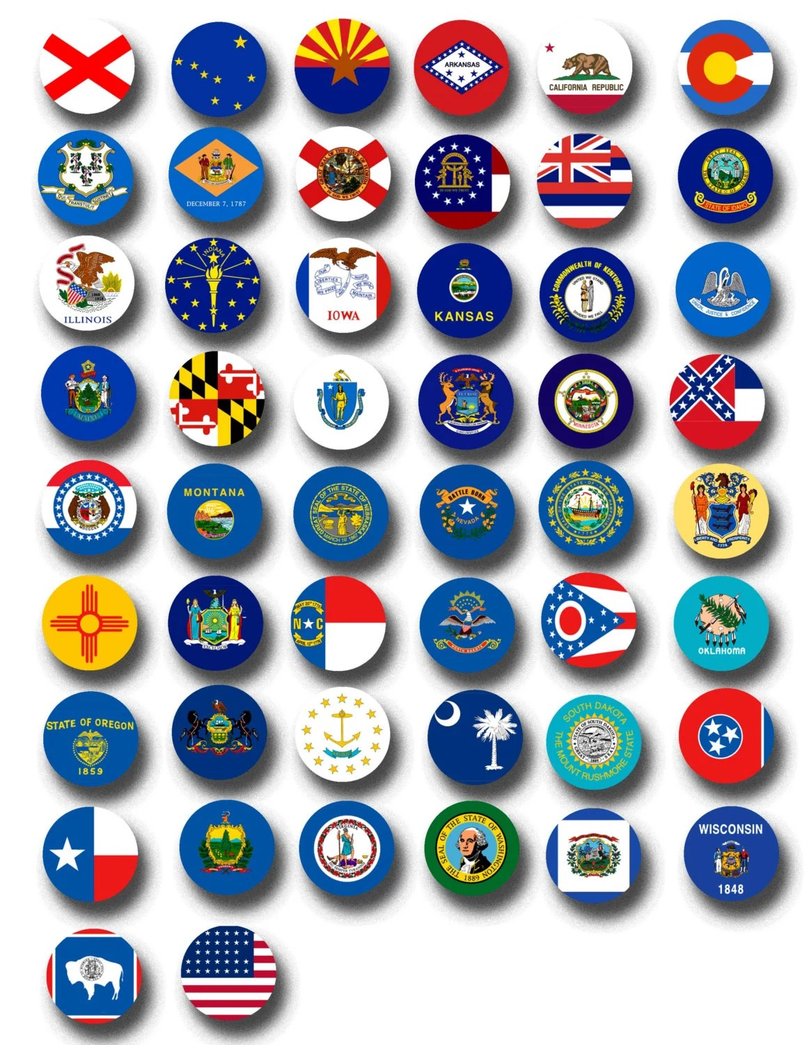 American States Flags Printable Collage Sheets Usa State Flags