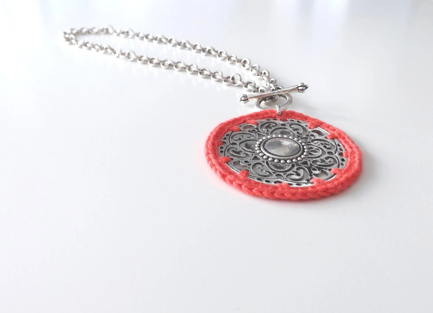 Crochet Bohemian Chic Necklace in Apple blossom on Silvered Base. Handmade Hippie Boho Gypsy Style Jewelry - Portobelloknit
