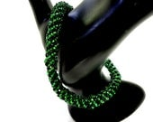 Green and Black Spiral Bangle Bracelet Beadweaving Handmade Jewelry - MegansBeadedDesigns