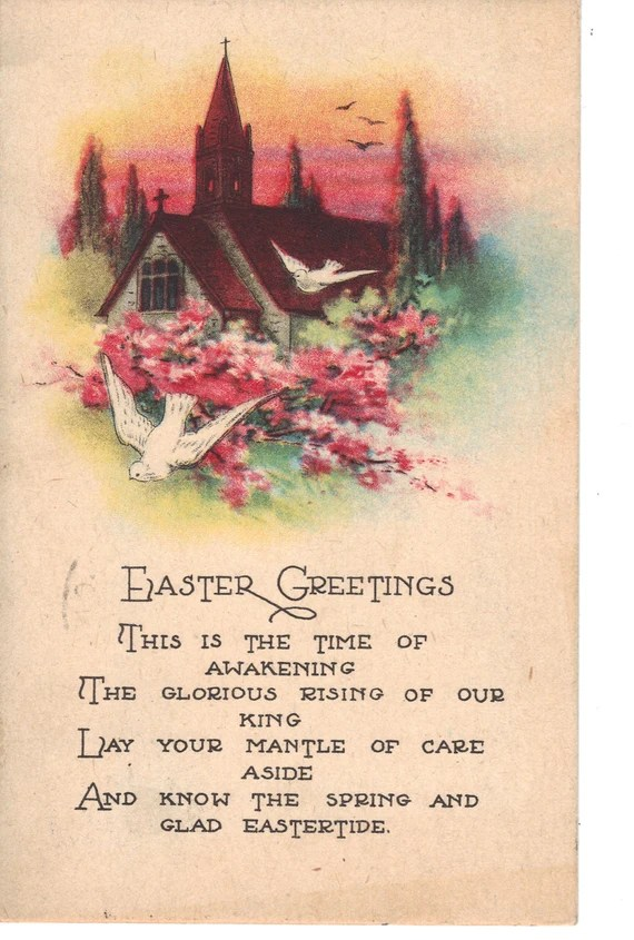 Easter poems for church service poemsrom easter greetings antique postcard church with poem m4hsunfo